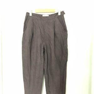 MaxMara Linen Blend High-waisted Slim Trousers